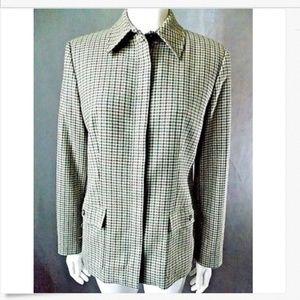 Womens Sz 8 Talbots Plaid Blazer zip Jacket 817-h3